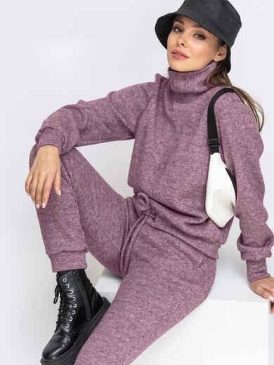 Брючный костюм из ангоры с кофтой розовый 52866, фото 1