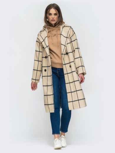 Двубортное пальто бежевого цвета в клетку - 45213, фото 2 – интернет-магазин Dressa