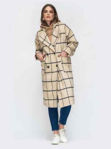 Двубортное пальто бежевого цвета в клетку - 45213, фото 3 – интернет-магазин Dressa