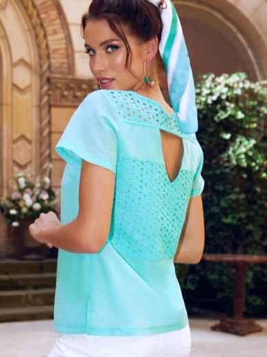 Голубая блузка с коротким рукавом и фигурным вырезом на спинке 54418, фото 1