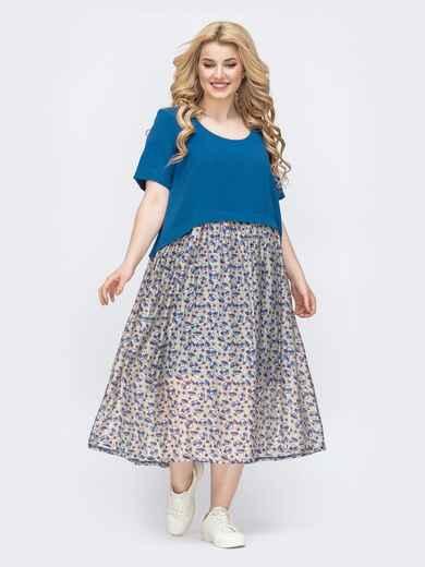Комбинированное платье батал с принтом синее 46439, фото 1