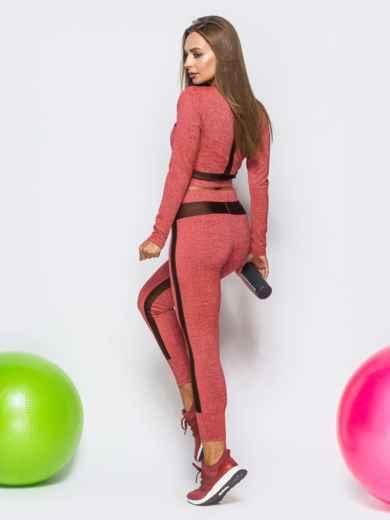 Комплект для фитнеса гранатового цвета с укороченной кофтой - 17162, фото 2 – интернет-магазин Dressa