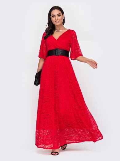 Красное платье большого размера в пол из гипюра 52117, фото 1