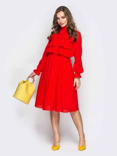 Красное платье с воланами по верху и юбкой-клёш - 20846, фото 1 – интернет-магазин Dressa