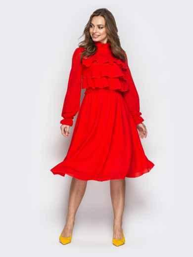 Красное платье с воланами по верху и юбкой-клёш - 20846, фото 2 – интернет-магазин Dressa