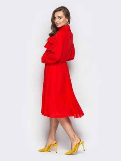 Красное платье с воланами по верху и юбкой-клёш - 20846, фото 3 – интернет-магазин Dressa