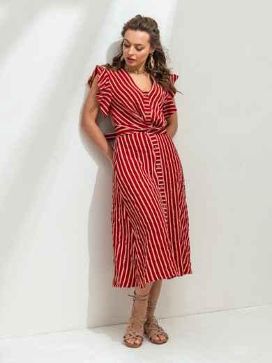 """Красное платье в полоску с рукавом """"крылышко"""" 46818, фото 2"""
