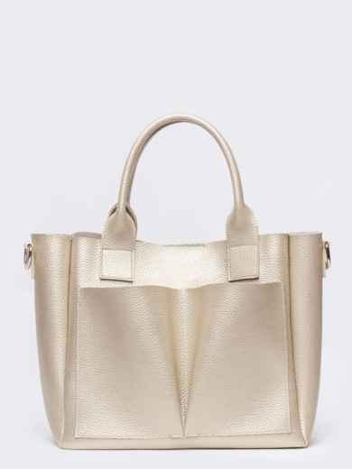 Кремовая сумка-тоут с двумя внешними карманами - 20578, фото 2 – интернет-магазин Dressa