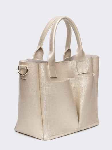 Кремовая сумка-тоут с двумя внешними карманами - 20578, фото 3 – интернет-магазин Dressa