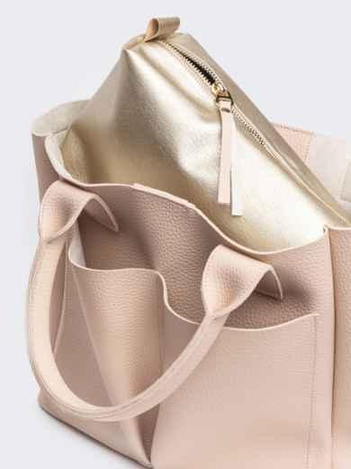 Кремовая сумка-тоут с двумя внешними карманами - 20578, фото 4 – интернет-магазин Dressa
