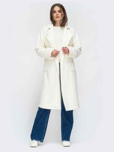 Молочное пальто на запах с накладными карманами - 45214, фото 2 – интернет-магазин Dressa