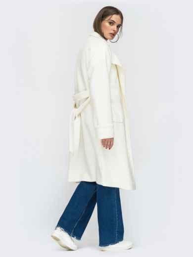 Молочное пальто на запах с накладными карманами - 45214, фото 3 – интернет-магазин Dressa