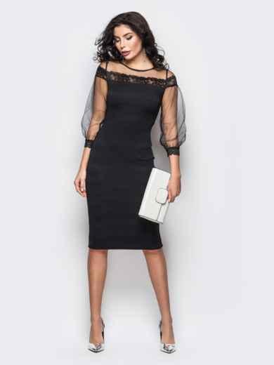 Платье из дайвинга с фатиновой кокеткой и рукавами черное - 11246, фото 2 – интернет-магазин Dressa