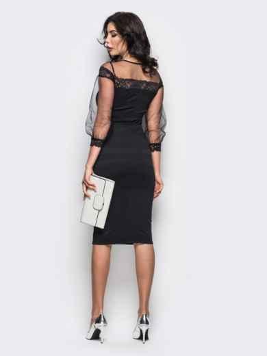 Платье из дайвинга с фатиновой кокеткой и рукавами черное - 11246, фото 3 – интернет-магазин Dressa