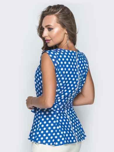Приталенная блузка в горох с молнией по спинке синяя - 38410, фото 2 – интернет-магазин Dressa