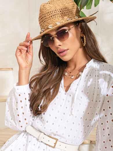 Прямоугольные очки без оправы с коричневыми линзами 54184, фото 1