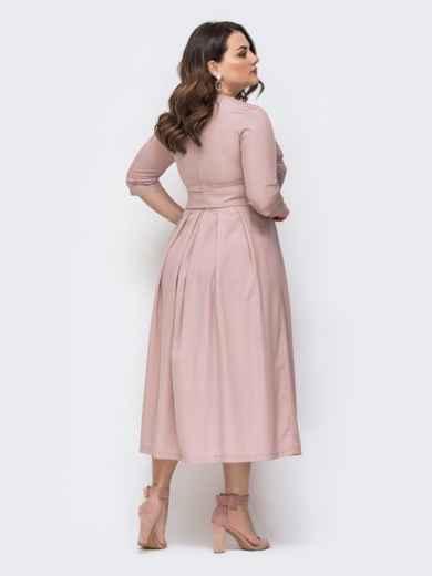 Пудровое платье батал с расклешенной юбкой 46442, фото 2