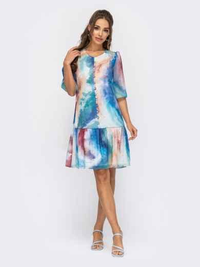 Шифоновое платье с принтом и воланом по низу голубое 53796, фото 1