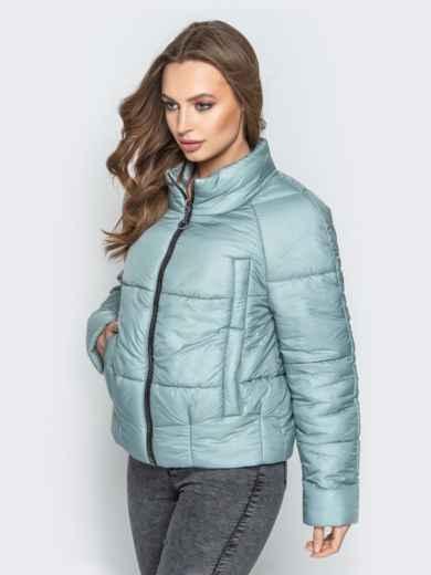 Укороченная куртка с воротником-стойкой и карманами голубая 20305, фото 2