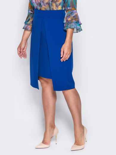 Юбка прямого кроя с имитацией короткой юбки синяя - 14361, фото 2 – интернет-магазин Dressa