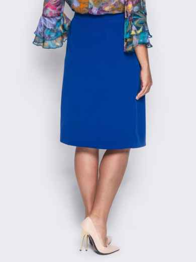 Юбка прямого кроя с имитацией короткой юбки синяя - 14361, фото 3 – интернет-магазин Dressa