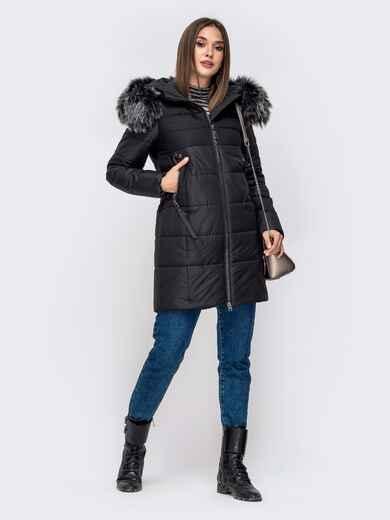 Зимняя куртка со вшитым капюшоном и съемным мехом 41247, фото 1