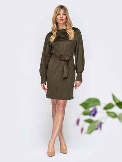 Платье с объемными рукавами цвета хаки 44903, фото 1