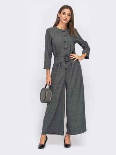 Серый комбинезон с брюками-кюлотами на кнопках 41492, фото 1