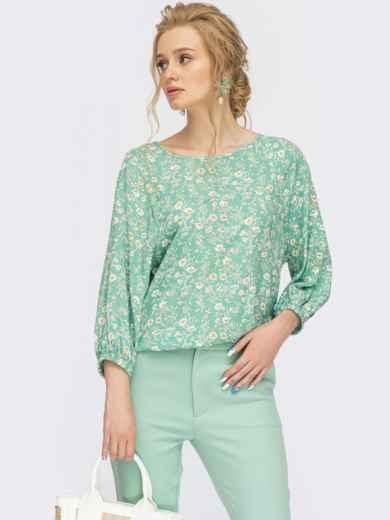 Бірюзова блузка з квітчастим принтом 54469, фото 1