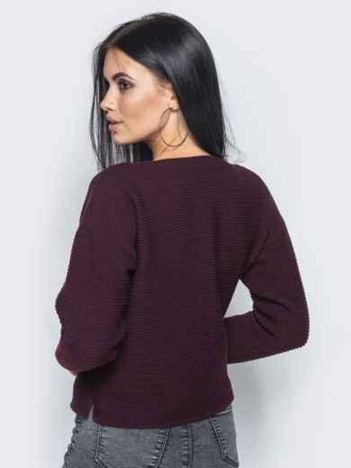 Бордовый свитер свободного кроя с жемчугом на кармане - 15985, фото 2 – интернет-магазин Dressa