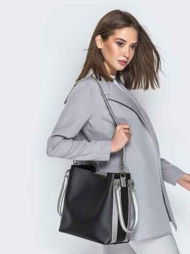 Чёрная сумка-тоут из эко-кожи с серебристыми ручками - 21469, фото 1 – интернет-магазин Dressa