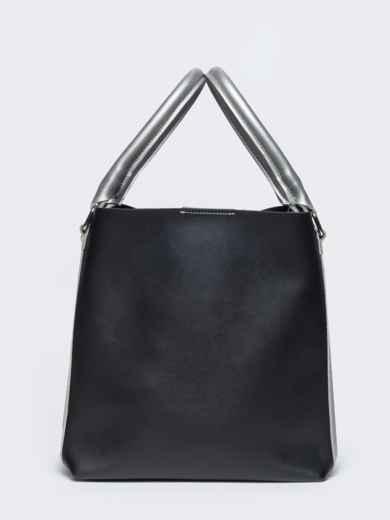 Чёрная сумка-тоут из эко-кожи с серебристыми ручками - 21469, фото 2 – интернет-магазин Dressa