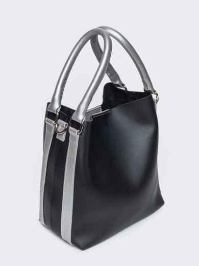 Чёрная сумка-тоут из эко-кожи с серебристыми ручками - 21469, фото 3 – интернет-магазин Dressa