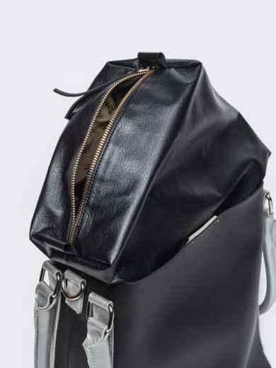 Чёрная сумка-тоут из эко-кожи с серебристыми ручками - 21469, фото 4 – интернет-магазин Dressa