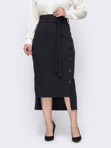 Черная юбка большого размера с пуговицами спереди 50895, фото 1