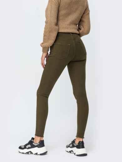 Джинсы-скинни цвета хаки с завышенной талией - 43100, фото 2 – интернет-магазин Dressa