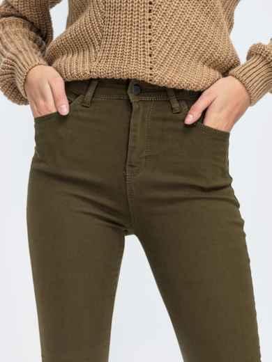 Джинсы-скинни цвета хаки с завышенной талией - 43100, фото 3 – интернет-магазин Dressa