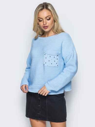 Голубой свитер свободного кроя с жемчугом на кармане - 15980, фото 1 – интернет-магазин Dressa