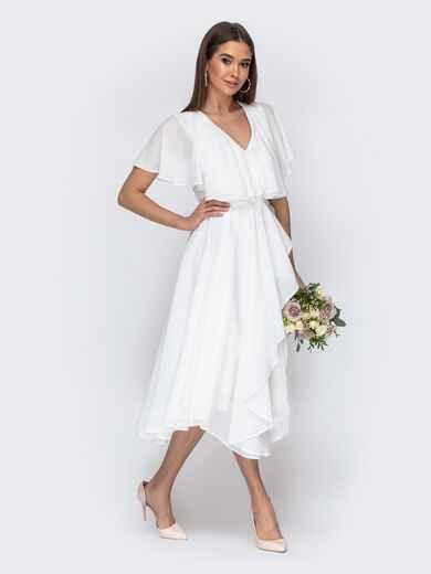 Молочное платье из шифона с запахом и широкими воланами 44749, фото 1