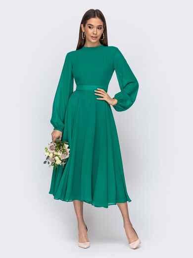 Платье с открытой спиной и юбкой-солнце зеленое 44748, фото 1