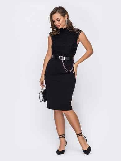 Приталенное платье с гипюровыми вставками на плечах черное 51959, фото 1