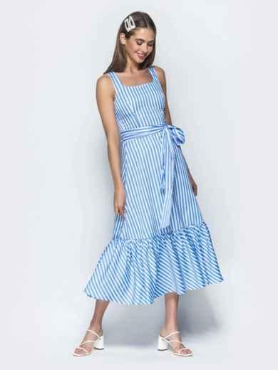 Приталенный сарафан в полоску с оборкой по низу синий - 39399, фото 2 – интернет-магазин Dressa