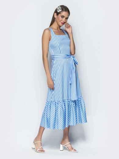 Приталенный сарафан в полоску с оборкой по низу синий - 39399, фото 5 – интернет-магазин Dressa
