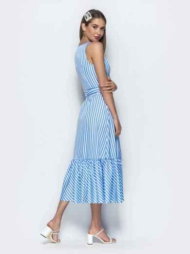 Приталенный сарафан в полоску с оборкой по низу синий - 39399, фото 6 – интернет-магазин Dressa