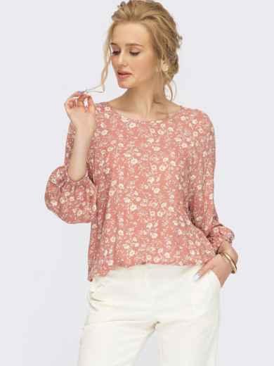 Розовая блузка с цветочным принтом  54470, фото 1