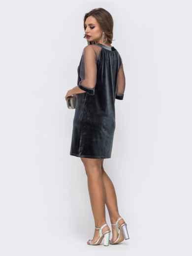 Серое платье из бархата с рукавами из сетки - 42629, фото 2 – интернет-магазин Dressa