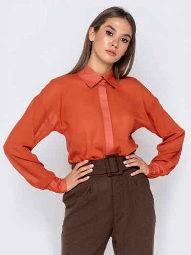 Шифоновая блузка оранжевого цвета с супатной застежкой - 40972, фото 2 – интернет-магазин Dressa