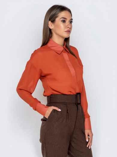 Шифоновая блузка оранжевого цвета с супатной застежкой - 40972, фото 3 – интернет-магазин Dressa