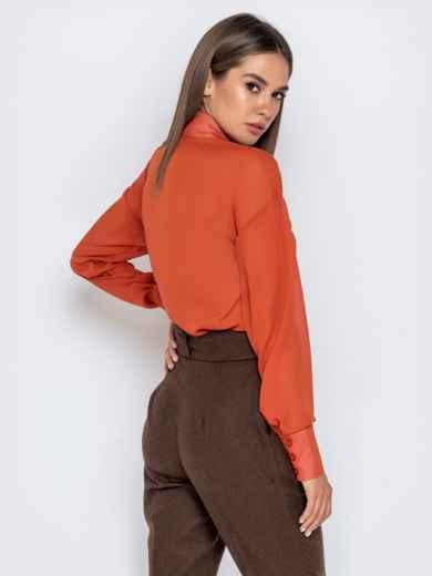 Шифоновая блузка оранжевого цвета с супатной застежкой - 40972, фото 4 – интернет-магазин Dressa