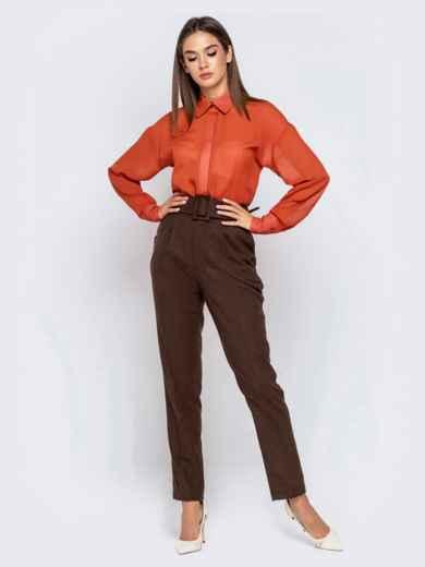 Шифоновая блузка оранжевого цвета с супатной застежкой - 40972, фото 5 – интернет-магазин Dressa